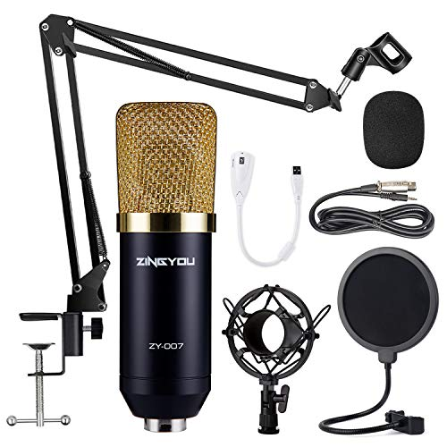 ZINGYOU Condenser Microphone Bundle, ZY-007 Professional Cardioid Studio Condenser Mic Include Adjustable Suspension Scissor Arm Stand, Shock Mount and Pop Filter, Studio Recording & Broadcasting (Best Music Studio Microphone)