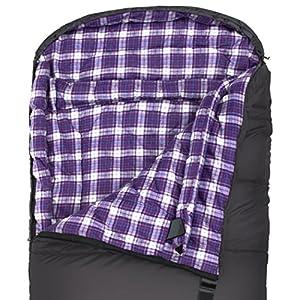 TETON Sports Fahrenheit Regular 0F Sleeping Bag, for Women; TETON Sleeping Bag Great for Cold Weather Camping; Lightweight Sleeping Bag; Hiking, Camping; Grey/Purple, Right Zip