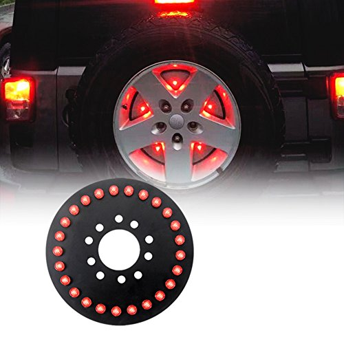 Wisamic 25pc LED Spare Tire Third Brake Light for 2007-2017 Jeep Wrangler JK-Red - Spare Tire Light