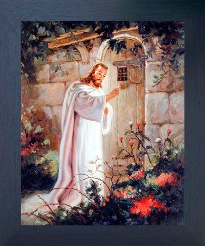 Impact Posters Gallery JFramed Wall Decoration Picture esus Christ Framed Poster - Knocking at The Door Religious and Spiritual Espresso Art Print (20x24)