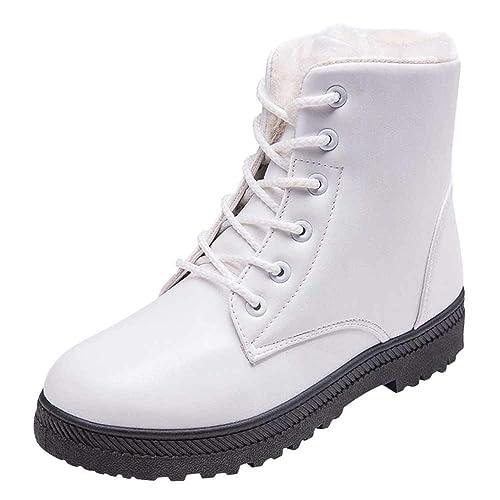 Botines De Nieve para Tobillo para Mujer OHQ Zapatos De Invierno Elegantes Botas Altas Botas Planas con Cordones: Amazon.es: Zapatos y complementos