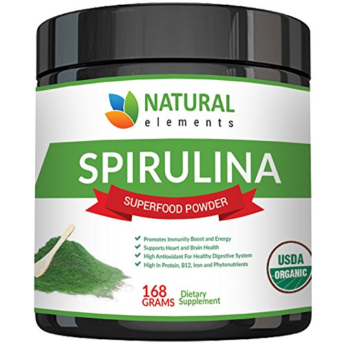 Premium USDA Organic Spirulina Powder - Highest Quality of Blue Green Algae from California & Hawaii  100% Vegetarian & Vegan, Non-GMO, Non-Irradiated  The Best Green Superfood for Smoothies!