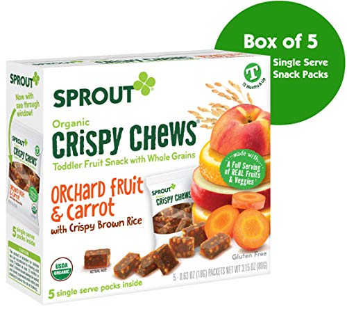 Sprout Organic Crispy Chews Toddler Snacks, Orchard Fruit & Carrot, 0.63 Ounce Single Serve Packets (Box of 5) -