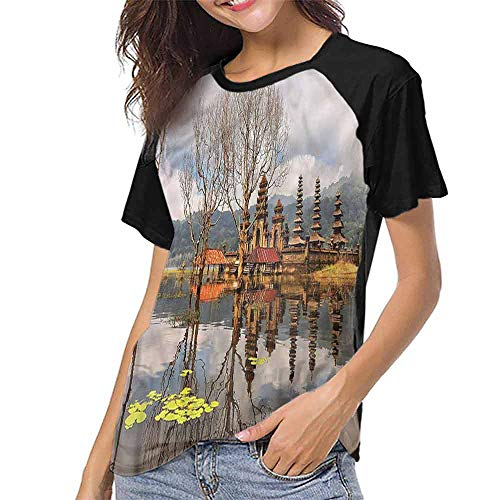 T Shirt Print Girls Tee,Balinese,Tamblingan Bali Lake S-XXL T Shirt Print Short Sleeve