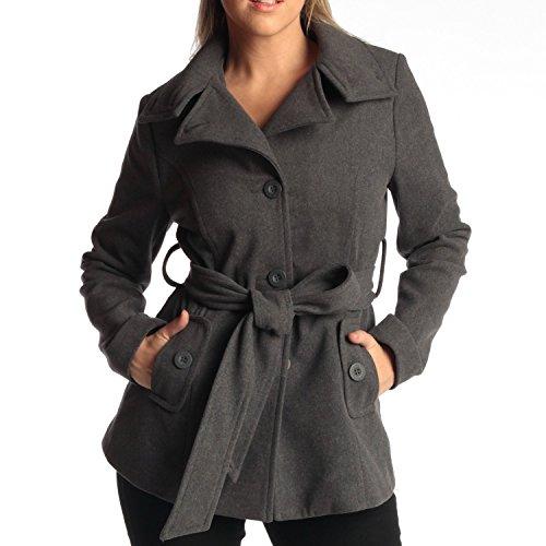 Belted Jacket (Womens Belted Blazer Alpine Swiss Wool Blend Hot Convertible Funnel Neck Collar, Gray Medium)