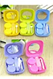Lunar Baby 2 PCS Mini Travel Contact Lens Case Kit Holder Mirror Box (pink or blue or purple or green or yellow )