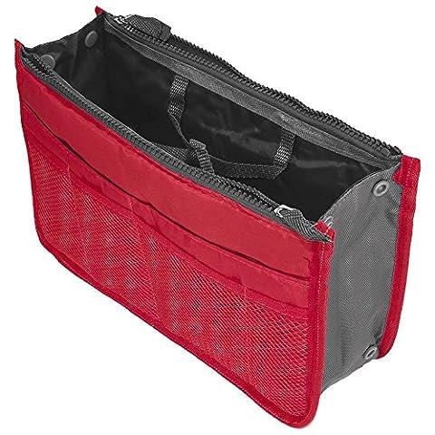 Multi-Pocket Pouch Insert Handbag Medium Size Purse Organizer Liner Tidy Bag Red
