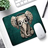 Marphe Mouse Pad Green Pattern Headset Music Elephant Mousepad Non-Slip Rubber Gaming Mouse Pad Rectangle Mouse Pads for Computers Laptop