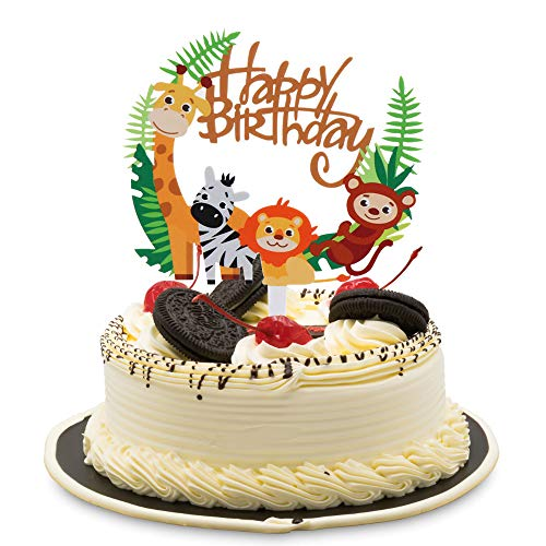 - Cute Animal Theme Happy Birthday Acrylic Cake Topper for Baby Birthday Shower Party