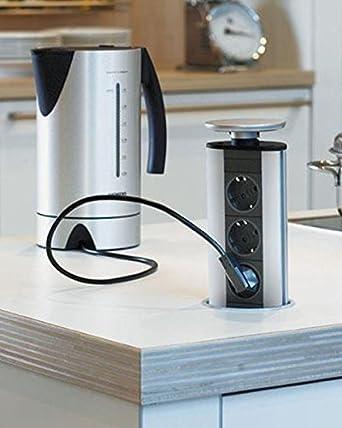 EVOline Küchen Einbau 3-fach Steckdose versenkbar Edelstahldeckel ...