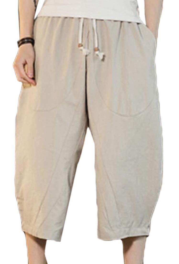 GenericMen Baggy Linen Waist Drawstring Pockets Wide Leg Capri Harem Pants