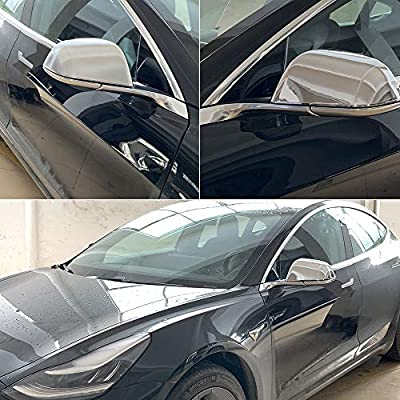 ROCCS Tesla Model 3 Side Mirror Cover, ABS Plastic Silver Cover Outside Mirrors Cap Replacement, Pack of two: Automotive