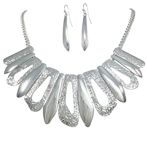Designer Look Stick Flair Bib Chain Necklace Earring Set (Silver Tone)