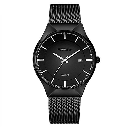 MODIWEN Ultra-Thin Business Men Quartz Watch with Alloy Mesh