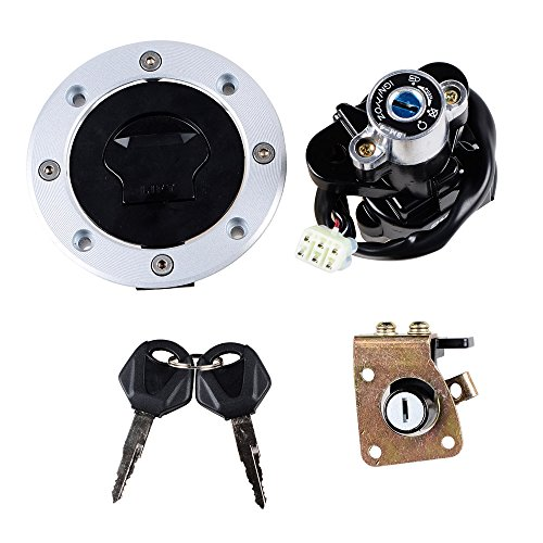 (Set Ignition Switch + Gas Fuel Tank Cap + Seat Lock + Keys Fit Suzuki GSXR600 750 GSX750 600 1200 TL1000R TL1000S (Selected))