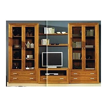 Dogar Import - Mueble Salon Con Libreria En Madera Maciza ...