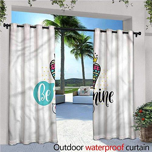 warmfamily Romantic Indoor/Outdoor Single Panel Print Window Curtain Heart Crown Be Mine Silver Grommet Top Drape W120 x L96 (Mine Crown Silver)