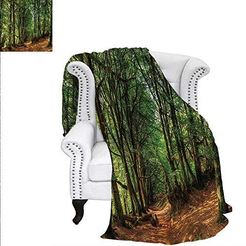 (RenteriaDecor Woodland Digital Printing Blanket Woodland Pathway Scene Oversized Travel Throw Cover Blanket 50