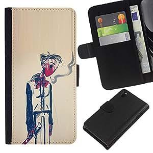 A-type (Hombre Humo Muerte Pintura Arte Simbólico) Colorida Impresión Funda Cuero Monedero Caja Bolsa Cubierta Caja Piel Card Slots Para Sony Xperia Z3 D6603