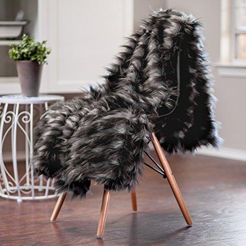 "Chanasya Soft Shaggy Fuzzy Fur Long Mangolian Faux Fur Cozy Elegant Chic Decorative Dark Gray and Light gray Diamond Print Microfiber Throw Blanket (50\"" x 65\"")- Dark Gray Mangolian fur"