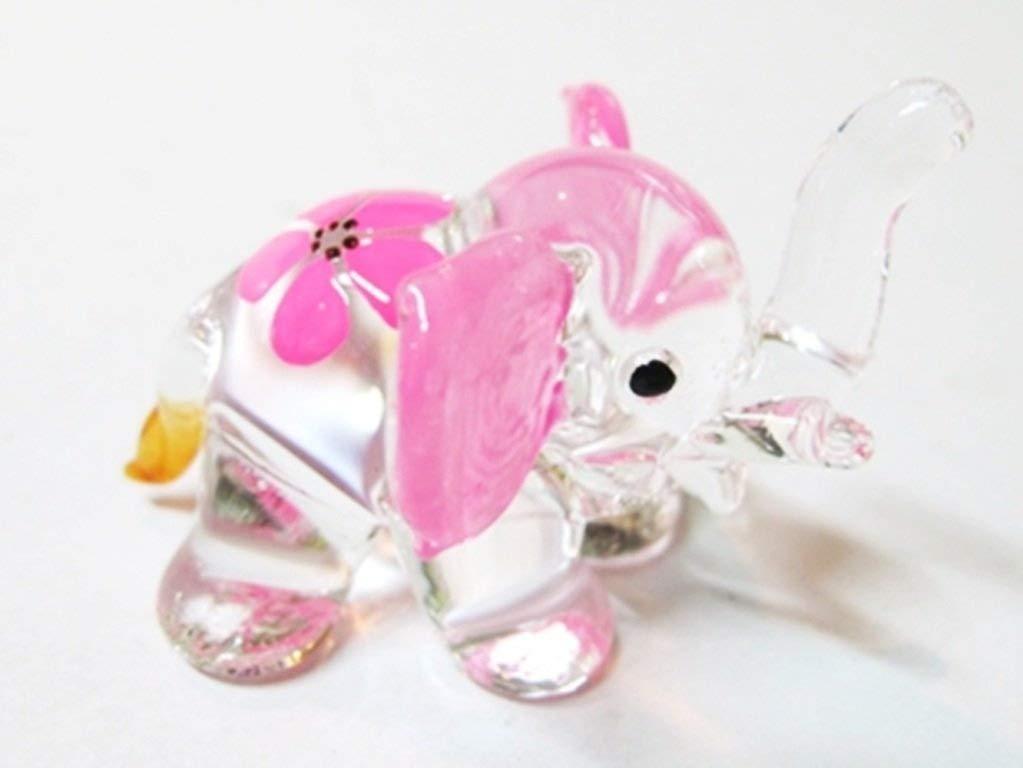 In miniaturada collezioneartesoffiatovetroelefantetagliaSamano, collezionediFIGURINEdipintedifiori ChangThai Design
