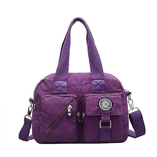 Women Nylon Totes Crossbody Shoulder Bag Multi Pocket Top Handle Satchel Handbag by BabyPrice