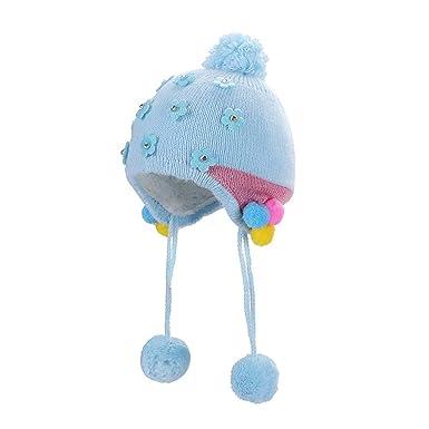 Sunenjoy Bébé Enfant Bonnet Chaud Mignon Fleur Beanie Chapeau Crochet Tricot  Cache-Oreilles Casquettes Slouchy Chaud Automne Hiver  Amazon.fr  Vêtements  et ... 005ecc4408d