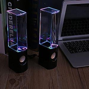 Hanbaili LED Dancing Water Light Speakers Music Fountain For Phones PC Laptop