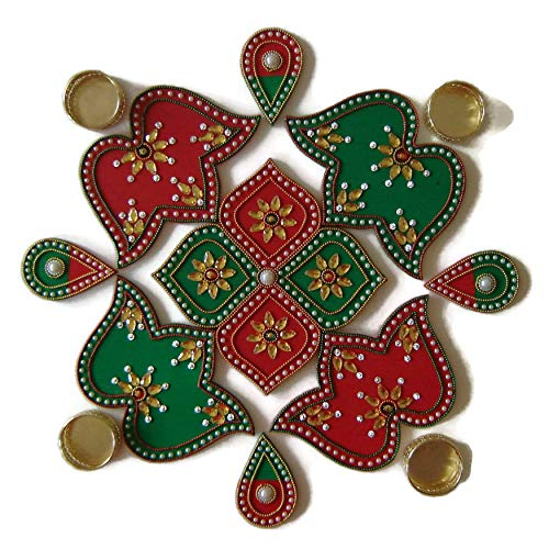 9 Piece Multi Design Floor, Table or Wall Decoration Rangoli - Green & Red