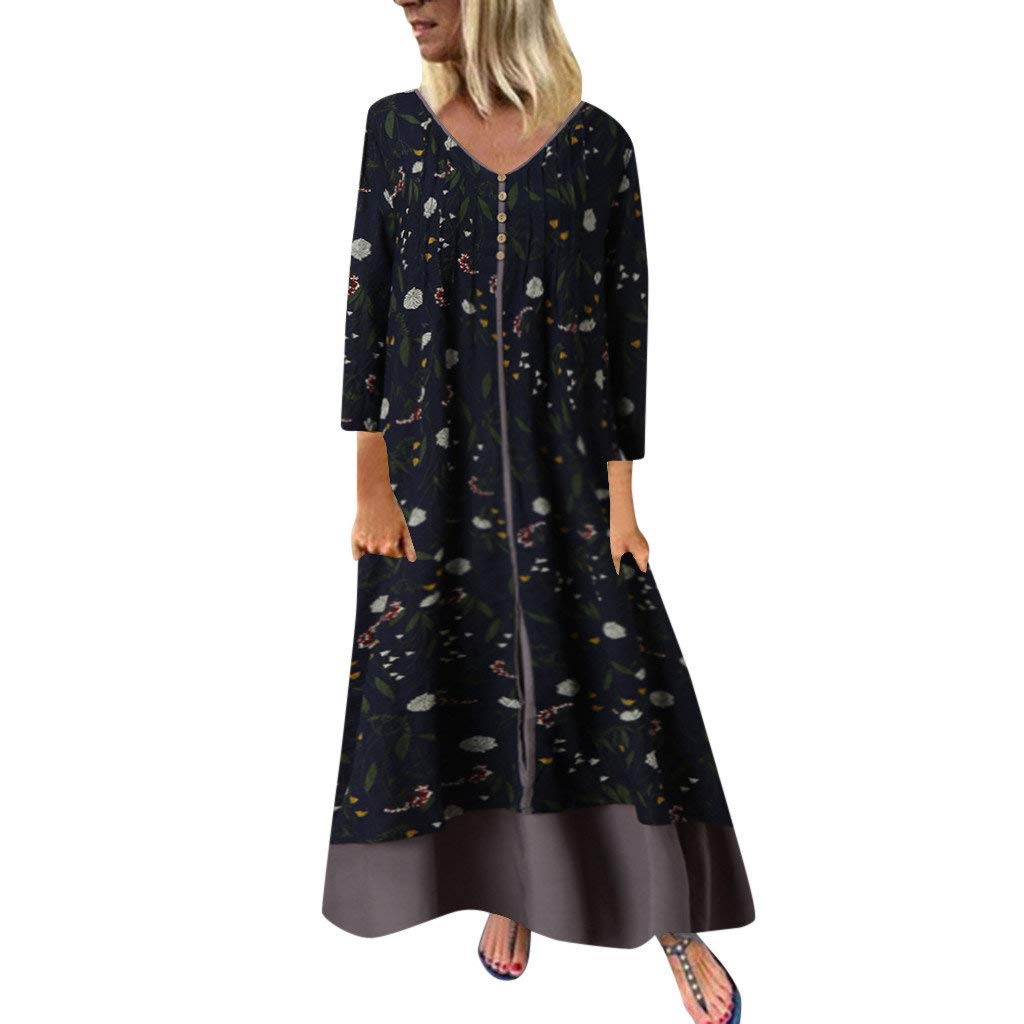 jin&Co Plus Size Loose Casual Long Dresses for Women V-Neck Long Sleeve Floral Printed Boho Maxi Dress with Pockets
