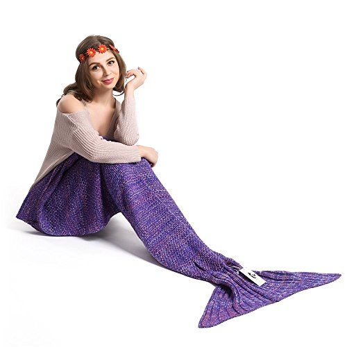 Kpblis Warm and Soft Mermaid Tail Blanket Knitted Mermaid Blanket for Kids and Adult 71-35-inches