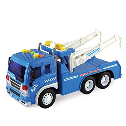 Gbell Friction Powered Watering Truck 1 20 Toy Towing Vehicle   Lights And Sounds  Blue