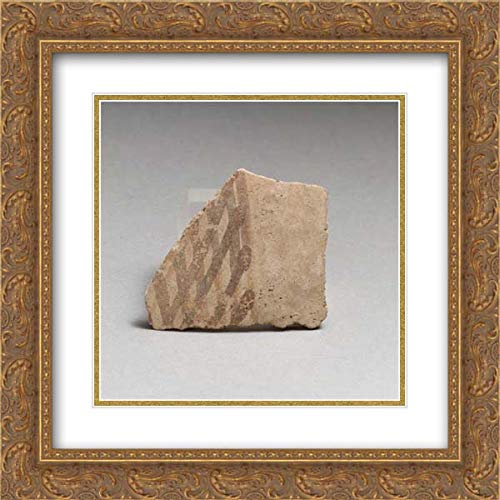 Minoan Culture - 20x20 Gold Ornate Frame and Double Matted Museum Art Print - Terracotta Vessel Fragment with Cross-Hatched Design