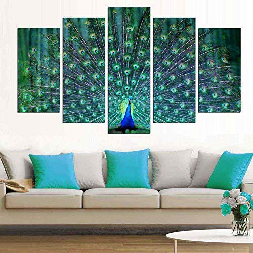 Wall Art Living Room-5 Pieces Large Green Framed Canvas Painting Print Picture 'Peacock Spread Its Wings' Artwork Ready to Hang (Art Picture Peacock)