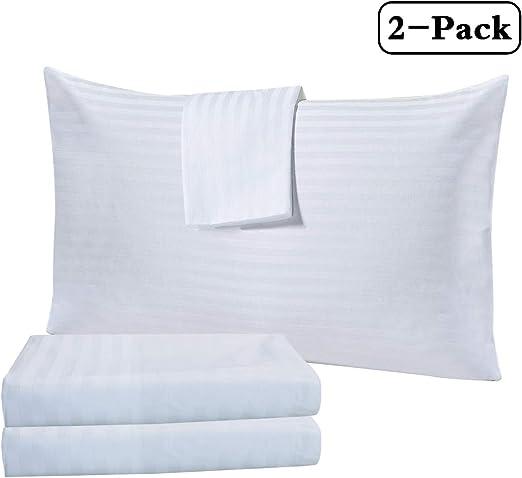 Thmyo Fundas de Almohada de algodón, hipoalergénicas, 200 Hilos, Fundas de Almohada estándar de 27 x 20 pulgadas/69 x 50 cm (sólo Funda, sin Relleno), 2 Pack Standard Pillowcases: Amazon.es: Hogar