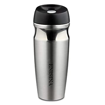 5697b485c6f Vacuum Stainless Steel Travel Mug, One Hand Operated Thermal Mug, 350 ML  Coffee Mug Insulated, Travel Mug and Leakproof for Hot and Cold Drink