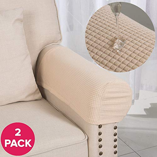 Larvinhom Armrest Covers Anti-Slip Waterproof Furniture Protector Armchair Slipcovers for Recliner Sofa Set of 2(Beige) (Headrest Covers For Chairs)