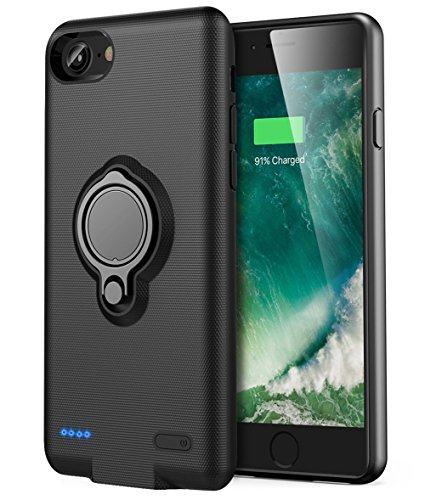 iPhone 6 Plus/6s Plus Battery Case - Veepax Premium 7200mAh Portable Charging Case for 6 Plus&6s Plus&7 Plus&8 Plus Extended Rechargeable Power Bank with Ring Holder Magnet Kickstand - Black