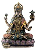 Bronze Hindu Goddess Lakshmi On Lotus Hinduism Display Statue