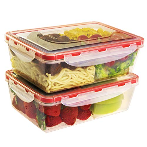 Bento Lunch Box 2pcs set 40,5 oz- Meal Prep Containers Microwavable - BPA Free - External Leak Proof - Portion Control Food Organizer Boxes Dishwasher Compatible Snap Locking Lid
