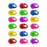 Flashing Colorful LED Light Up Bumpy Jelly Rubber Rings Finger Toys for Parties, Event Favors, Raves, Concert Shows, Gifts (18 Pack)