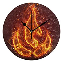 Ladninag Wall Clock Fire Flame Silent Non Ticking Decorative Round Digital Clocks for Home/Office/School Clock