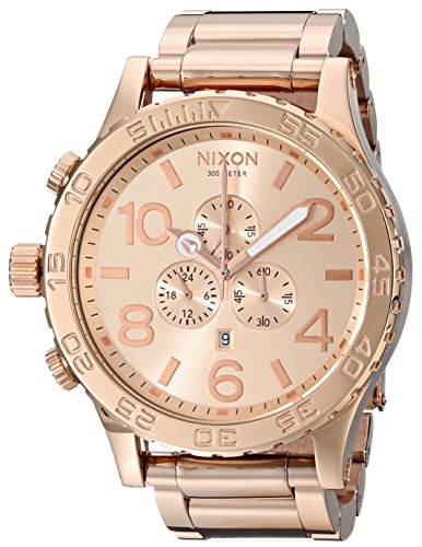 Nixon 51-30 Chrono. 100m Water Resistant Men's Watch (XL 51mm Watch Face/ 25mm Rose Gold Stainless Steel Band) (Nixon 51 30 Tide Watch)
