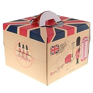 MagiDeal 10pcs Bandera de Reino Unido Caja con asa para Tarta de Boda Fiesta de cumpleaños Regalos, 8 Inch
