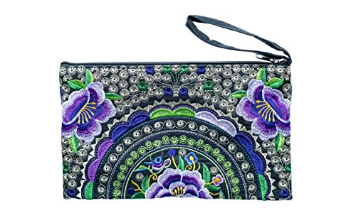 (Cotton Rose, Embroidered Clutch, Boho Wristlet, Hippy Purse, Bohemian Purse, Gypsy Purse, Hippie Purses, Large, Boho Clutch Purses (BCLR Black-Purple))
