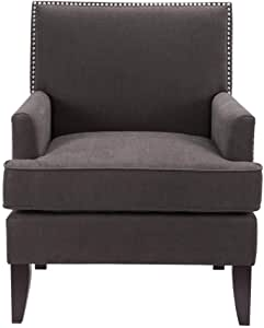 Madison Park Colton Accent Hardwood, Brich Wood, Faux Velvet, Bedroom Lounge Mid Century Modern Deep Seating, High Back Club Style Arm-Chair Living Room Furniture, Charcoal