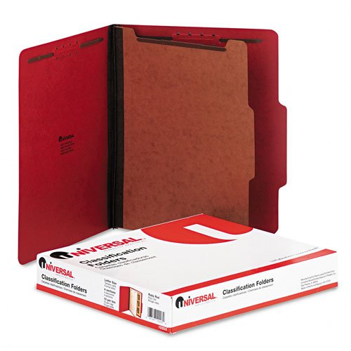(Universal : Pressboard Classification Folders, Letter, 4-Section, Ruby Red, 10 per Box -:- Sold as 2 Packs of - 10 - / - Total of 20 Each)