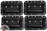 Deluxe Speaker Cabinet Handles for DJ PA Road Case (Set of 4) by Griffin|Heavy Duty, Spring Loaded, Recessed Metal Flip Pull with Rubber Padding for Comfortable Flight Carry|Pro-Audio Stage Gear Parts