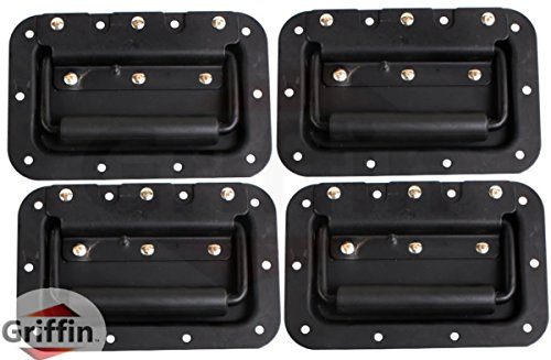 Speaker Cabinet Hardware (Deluxe Speaker Cabinet Handles for DJ PA Road Case (Set of 4) by Griffin|Heavy Duty, Spring Loaded, Recessed Metal Flip Pull with Rubber Padding for Comfortable Flight Carry|Pro-Audio Stage Gear Parts)