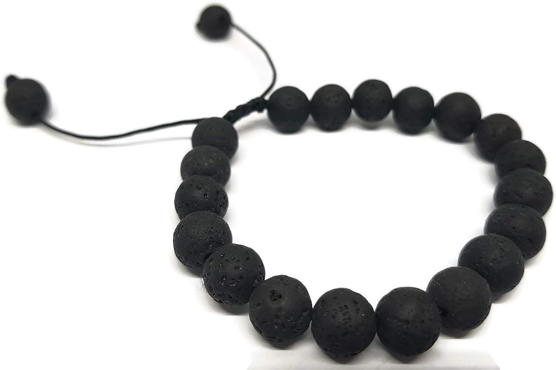 MYSTIC JEWELS By Dalia - Pulsera Shamballa para Hombre, Pulsera Trenzada de Perlas de Piedras Naturales de Lava en Negro, 16-23 cm